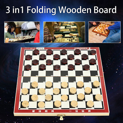 3 in 1 Folding Wooden Chess Set Board Game Xmas Gift Family Checkers Backgammon