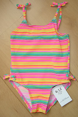 BNWT GEORGE Baby Girls Clothes 6-12 Months Orange Pink Striped Swimming Costume