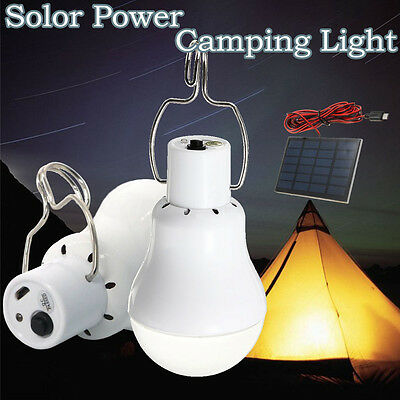 20W Solar Panel Powered LED Bulb Light Portable Outdoor Camping Energy Lamp AU