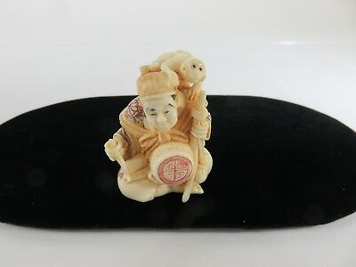 Meiji Period Hand Carved Japanese Netsuke, Street Performer, signed, c1880s