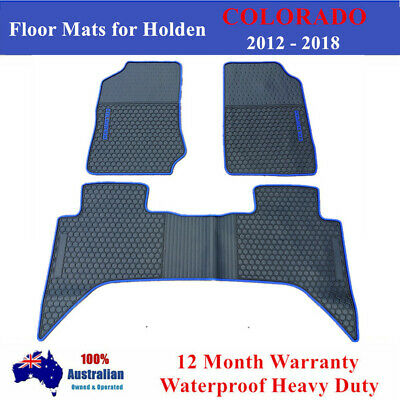 Waterproof Rubber Floor Mats Tailor Made Holden Colorado Dual Cab 2012 - 2017