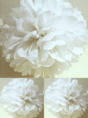 7 x white xmas tissue paper pompoms hanging  christmas party decorations