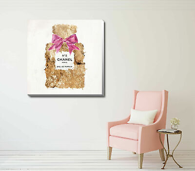 Gold Perfume Stretched Canvas Print Framed Wall Art Hanging Home Office Decor