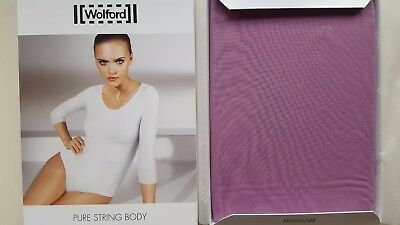 WOLFORD PURE STRING BODY SUIT fine 3/4 sleeves size XS - WILD ROSE lilac purple