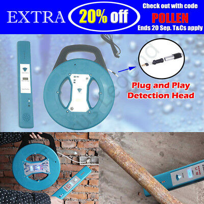 PVC STEEL Pipe Clog Blockage Inspection System 20M Cable Snake Reel w/ Sensor