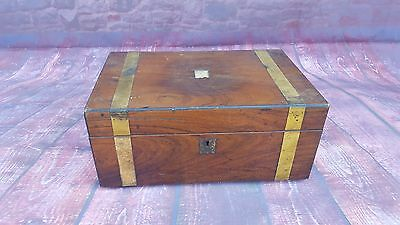 Antique Vintage Old Victorian Wooden Brass Writing Drawing Slope Box Desk Tidy