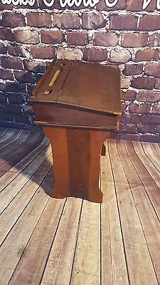 Antique Vintage Wooden School Writing Drawing Table Desk Box Storage Menu Stand