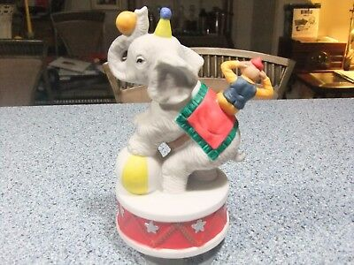 San Francisco Music Box company Rotating Circus Elephant w/ Monkey figurine