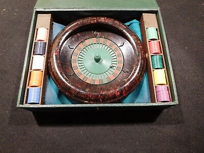 1941 Vintage E.S.Lowe Roulette Wheel Game W/Chips Excellent Condition!
