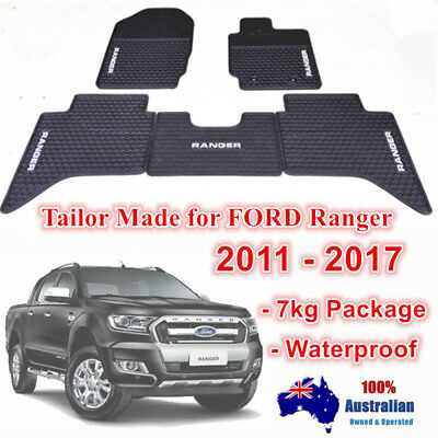 Waterproof Rubber Floor Mats Tailored Ford Ranger PX PX2 2011-2017 Dual Cab