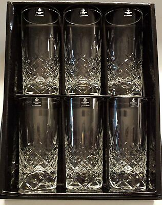 Caledonian 24% Lead Fully Cut 320ml Hi-Ball Highball Glasses Set of 6 In Present