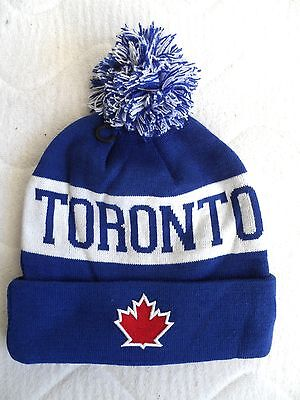 TORONTO CANADA MAPLE LEAF - POMPOM Bobble Beanie TUQUE Hat baseball ice hockey
