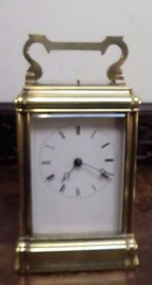 french  repeater brass one piece case carriage clock marked HL