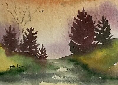 ACEO Original Art Watercolour Painting by Bill Lupton  - Sunrise
