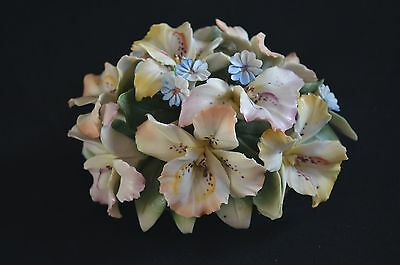 Genuine VTG Italian Capodimonte small arrangement orchids, forget-me-nots 6.5""