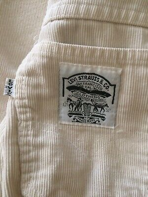 vintage LEVIS corduroy pants White Womens Small Slim Straight 1970's Boyfriend