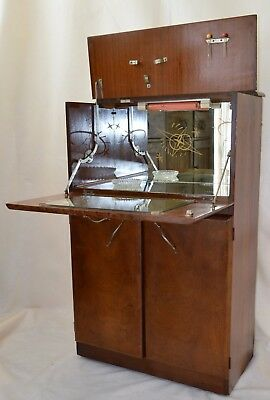 Vintage English  Liquor  Cocktail Bar Cabinet  England Mid Century with light