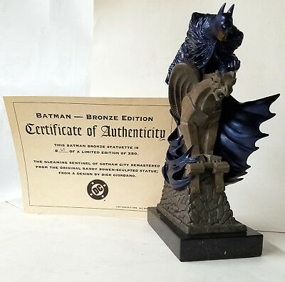 BATMAN SOLID BRONZE + MARBLE STATUE 1996 DC / Bowen #65/250 with COA