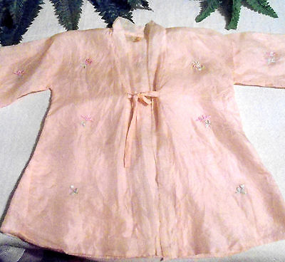 Antique Ex Museum Silk Lined Silk Embroidered Pink Mandarin Style Baby Robe