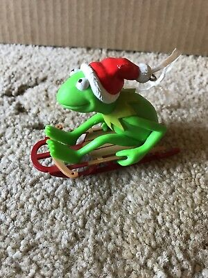 Kermit The Frog On Sled Christmas Ornament