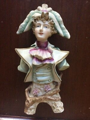 "Antique. French. Bisque  10"" Gentleman Figurine  Bust - Excellent"