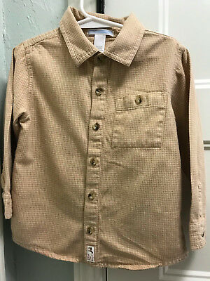 Boys Sz 3T Cream/Tan Houndstooth Pattern JANIE and JACK Button-Down Shirt/Top