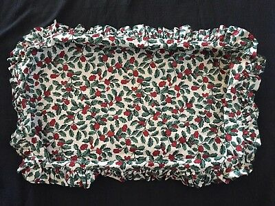 Longaberger Fabric Liner Fits Hostess Serving Basket Traditional Holly Fabric