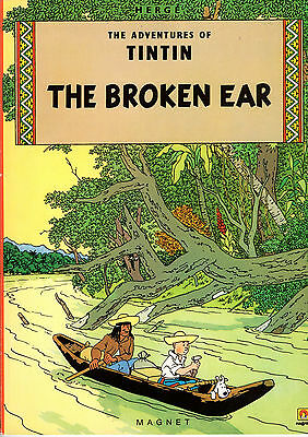"""Hergé """"The Adventures of Tintin: The Broken Ear"""" Magnet 1986 softcover"""