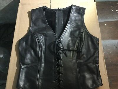 Black Leather Biker Vest - Size Ladies 8 from Kelly's Leather works in IL