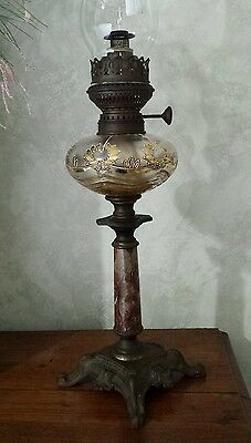 Antique Victorian Banquet Oil Lamp Brass and Marble Gold Leaf Glass Font