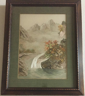 Gorgeous VTG Framed Hand Stitched Silk Thread Scene from Hong Kong • 100% MINT!
