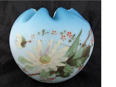 c1890 Large Victorian ROSE BOWL Shaded Blue w/Painted DAISIES