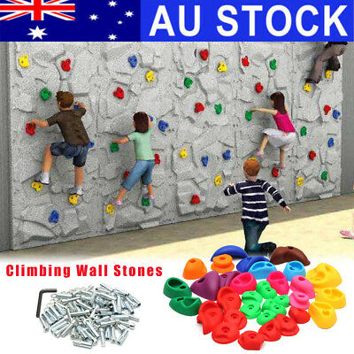 AU 32pcs Indoor Rock Climbing Stones Hand Hold Wall Climb Plastic Kit Kids Toys
