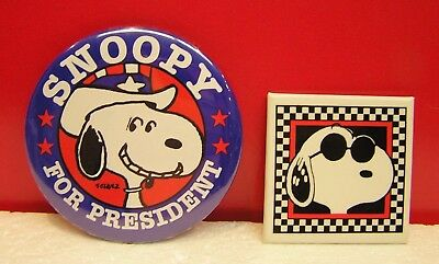 Snoopy For President & Joe Cool Set of 2 Vintage Pinback Buttons