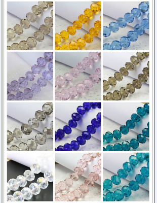 Wholesale 100/500/1000pcs 6mm Glass Crystal Faceted Rondelle Charm Spacer Beads