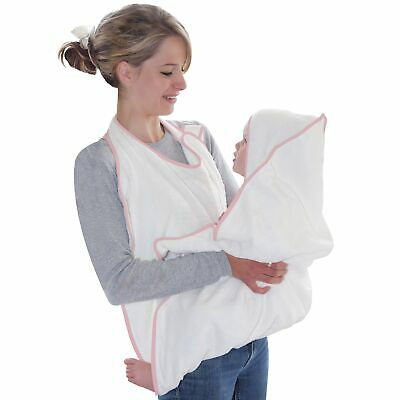 Cuddledry Hands Free Apron / Hooded Baby Bath Towel - White With Pink Trim