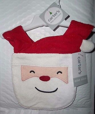 nwt-os-Carter's Little Collections-SANTA Bib-Christmas-Gift-baby-boy-girl