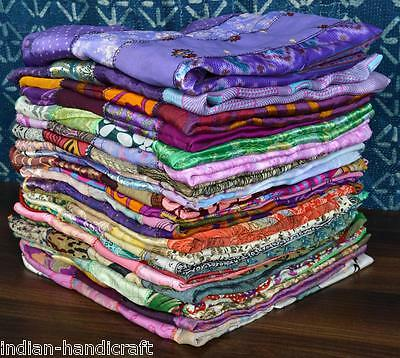 5 Vintage Silk Sari Recycled Scarves Stoles Patchwork scarf lot Wholesale SC65