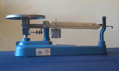 Sargent-Welch Triple Beam Balance Cat. No. S3451 Blue Cast Iron Base Adjustable