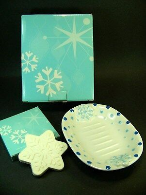 AVON SNOWFLAKE SOAP DISH & HOLIDAY SOAP Apple Cranberry Set - New In Boxes