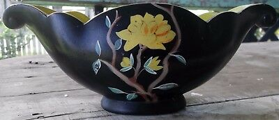 """lovely old BRENTLEIGH WARE ENGLAND hand painted black vase """"ANNE"""""""