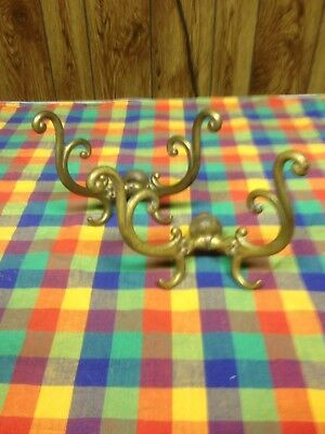 Two Antique Solid Brass Coat Hat Racks Hooks