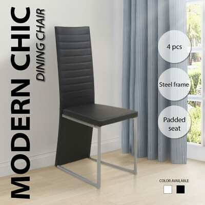 4 Modern Black/White Leather Dining Chair Ribbed High Back Steel Frame Furniture