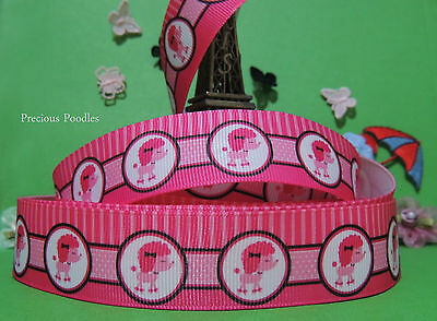 2 YARDS CUTE POODLE * PRETTY IN PINK * PUPPY DOG GROSGRAIN RIBBON 25 mm #11