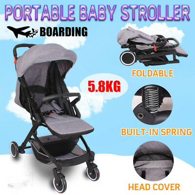 Compact Travel Stroller Pram Deluxe Baby Lightweight Easy Fold Carry on Plane