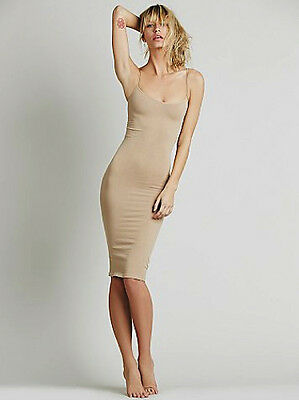NEW Free People Intimately Tea Length Seamless Slip Dress Nude XS/S-M/L $45.03