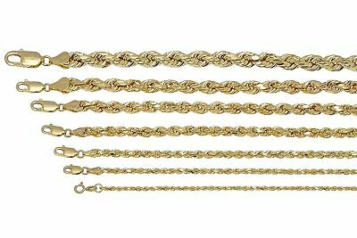 """BRAND NEW 10K Yellow Gold 2mm-7mm Italy Rope Chain Twist Link Necklace 16""""-32"""""""