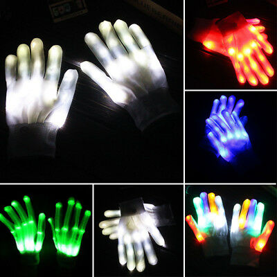 Fashion 1Pair 7 LED Rave Party Club Light Finger Lighting Flash Light Up Gloves
