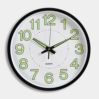30cm Wall Clock Glow In The Dark Silent Quartz Indoor/Outdoor white Noctilucent