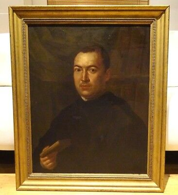 Fine Large 17th Century Italian Old Master Portrait Of A Priest Antique Painting